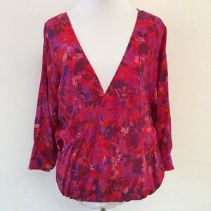 Joie Silk V Neck Blouse Pink Size Small Floral